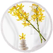 Yellow Orchid Bunchs Round Beach Towel by Atiketta Sangasaeng