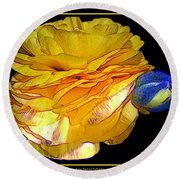 Yellow Ranunculus Flower With Blue Colored Edges Effect Round Beach Towel