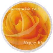 Yellow Rose Birthday Card Round Beach Towel