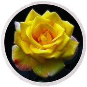 Yellow Rose In The Moonlight Round Beach Towel