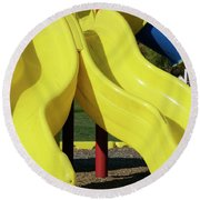 Yellow Slides Round Beach Towel