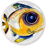 Yellow Study Fish Round Beach Towel by J Vincent Scarpace