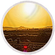 Yellow Sun Round Beach Towel
