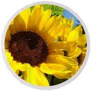 Yellow Sunflowers Art Prints Summer Sunflower Round Beach Towel