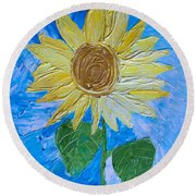 Yellow Sunshine Round Beach Towel