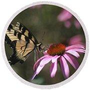Yellow Swallowtail And Purple Coneflower Round Beach Towel
