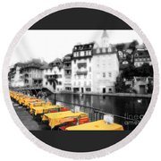 Yellow Tablecloths Round Beach Towel