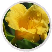 Yellow Tiger Lily Round Beach Towel