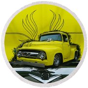 Yellow Truck In Truck Grill Round Beach Towel