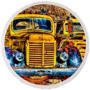 Yellow Trucks Round Beach Towel