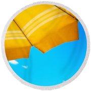 Yellow Umbrella With Sea And Sailboat Round Beach Towel