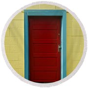 Yellow Wall And Red Door Round Beach Towel