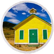 Yellow Western School House Round Beach Towel