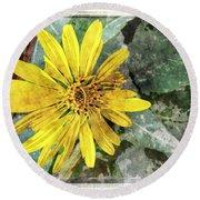 Yellow Wildflower Photoart Round Beach Towel