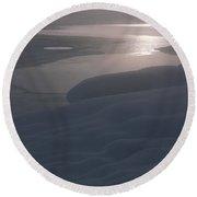 Yellowstone Lake Sunrise Round Beach Towel