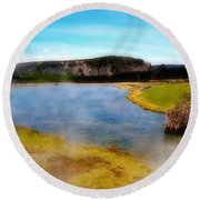 Yellowstone Landscape Round Beach Towel