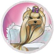 Yorkie Rapunzel Round Beach Towel