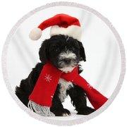 Yorkipoo Pup Wearing Christmas Hat Round Beach Towel