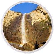 Yosemite Bridal Veil Falls Round Beach Towel