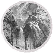 Yosemite Falls, 1874 Round Beach Towel