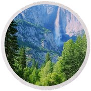 Yosemite Falls And Merced River Round Beach Towel