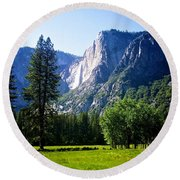 Yosemite Falls From The Ahwahnee Round Beach Towel