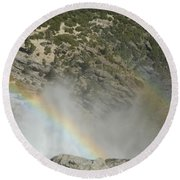 Yosemite Falls Rainbow Round Beach Towel