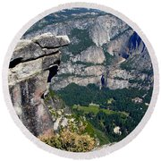 Yosemite Valley From Glacier Point Round Beach Towel