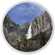 Yosemite Water Fall Round Beach Towel