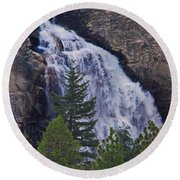 Yosemite Waterfall Round Beach Towel