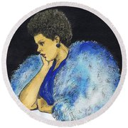 Young Billie Holiday Round Beach Towel