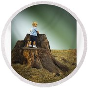 Young Boy Round Beach Towel