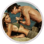 Young Couple On The Beach Round Beach Towel