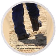 Young Cowboy With Spurs Round Beach Towel