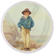 Young England - A Fisher Boy Round Beach Towel