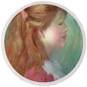 Young Girl With Long Hair In Profile Round Beach Towel