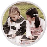 Young Girls Doodling Round Beach Towel