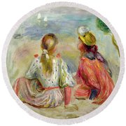 Young Girls On The Beach Round Beach Towel