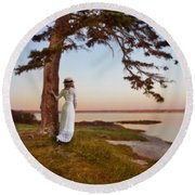 Young Lady In Edwardian Clothing By The Sea Round Beach Towel