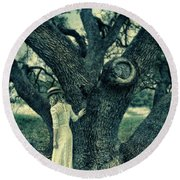 Young Lady In White By Tree Round Beach Towel
