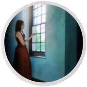 Young Lady Looking Out Window Round Beach Towel