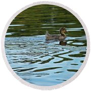 Young Male Garganey Round Beach Towel