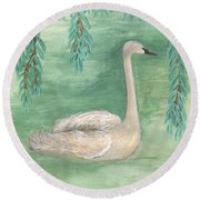 Young Swan Under Willow Tree Round Beach Towel