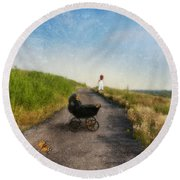 Young Woman And Baby Buggy On Dirt Road  Round Beach Towel