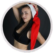 Young Woman Wearing Santa Hat Round Beach Towel