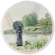 Young Woman Round Beach Towel by Winslow Homer