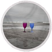 Your Wine Is Waiting Round Beach Towel
