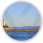 Zadar Pier On The Adriatic Sea Round Beach Towel