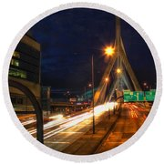 Zakim Bridge At Night Round Beach Towel by Joann Vitali