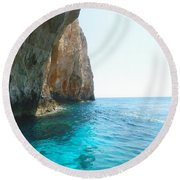 Zakynthos Blue Caves Round Beach Towel